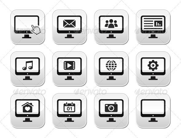 GraphicRiver Computer screen modern grey buttons set 3884043