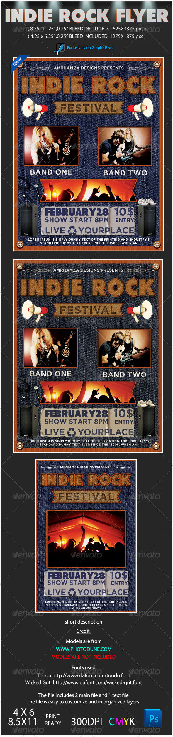 GraphicRiver Indie Rock Poster Event 3755811