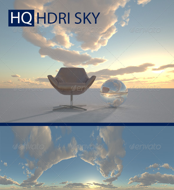 Realistic Cloudy Evening Sky HDRI