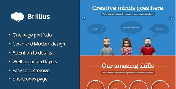 ThemeForest Brillius Creative One Page PSD template 3885210