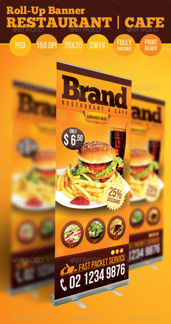 GraphicRiver Restaurant Cafe Roll Up Banner 3885235