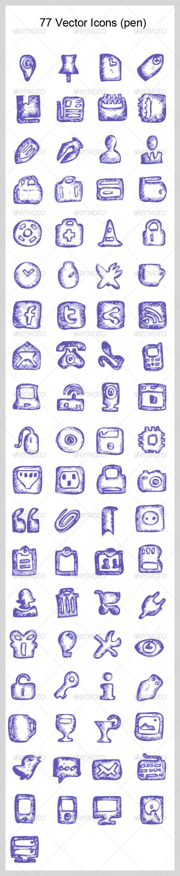 GraphicRiver 77 Vector Icons pen 3885731