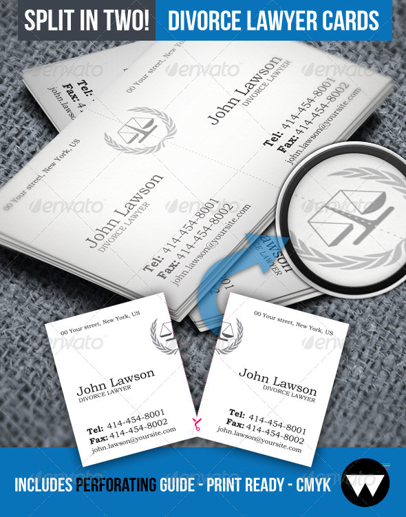 GraphicRiver Divorce Lawyer Split Business Card 3885736