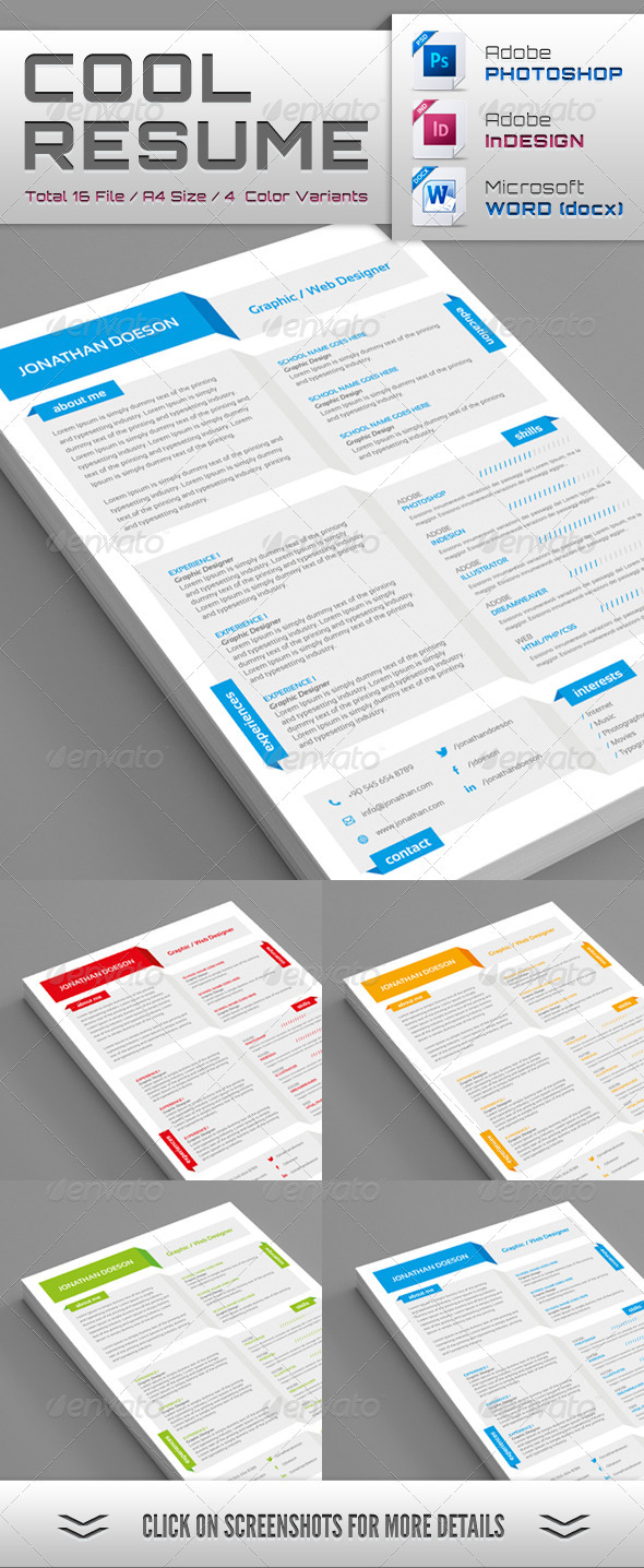 GraphicRiver Cool Resume 3885844