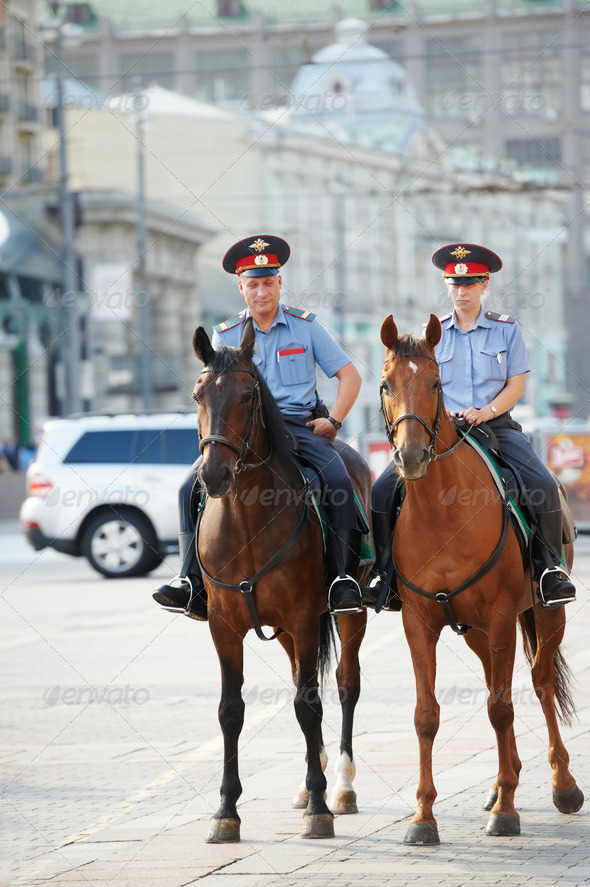 Horse police on duty - Stock Photo - Images