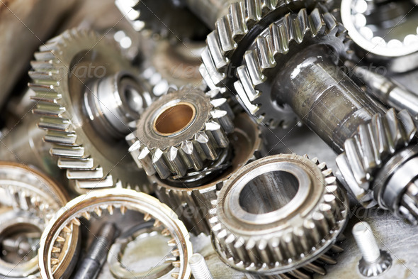 Close-up of automobile engine gears - Stock Photo - Images