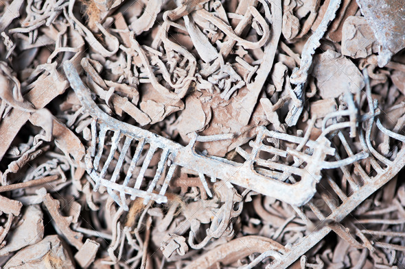 lead scrap materials recycling backround - Stock Photo - Images