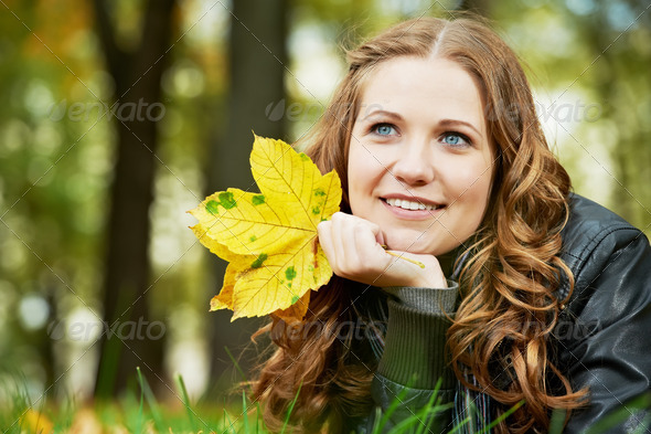 Woman at autumn outdoors - Stock Photo - Images