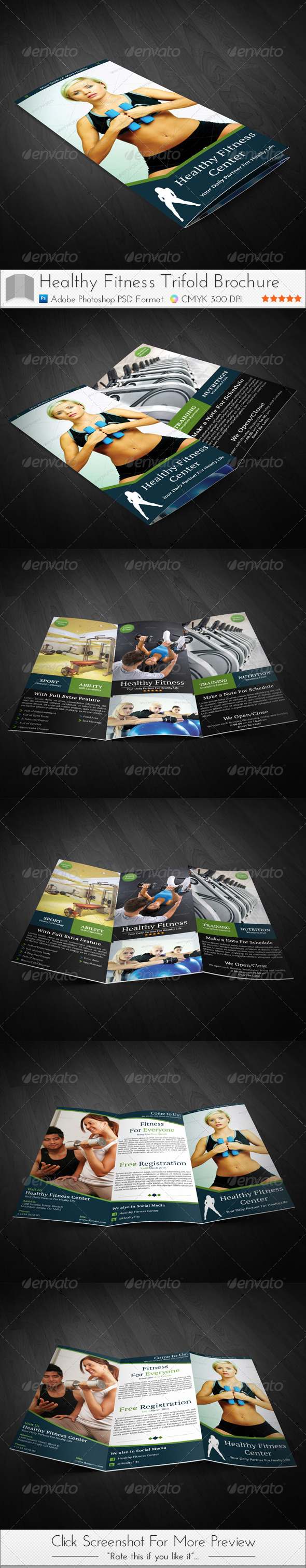 GraphicRiver Healthy Fitness Trifold Brochures 3797722