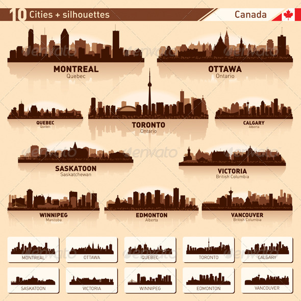 City Skyline Set Canada Vector Silhouettes