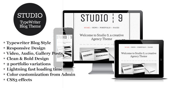 Studio 9 - a Creative Agency Portfolio Wordpress Theme