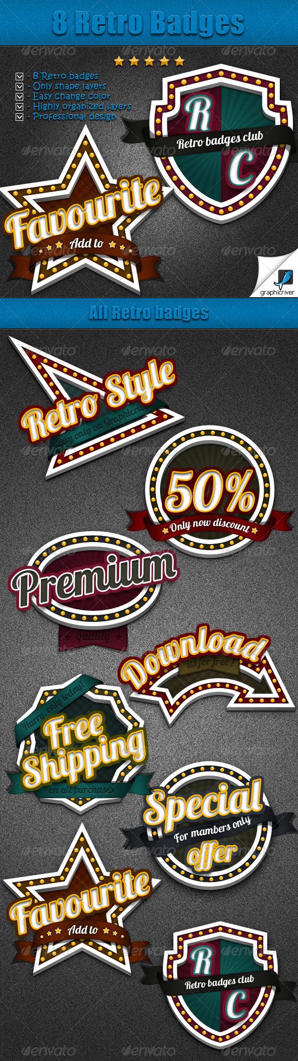 8 Retro Badges - Badges & Stickers Web Elements