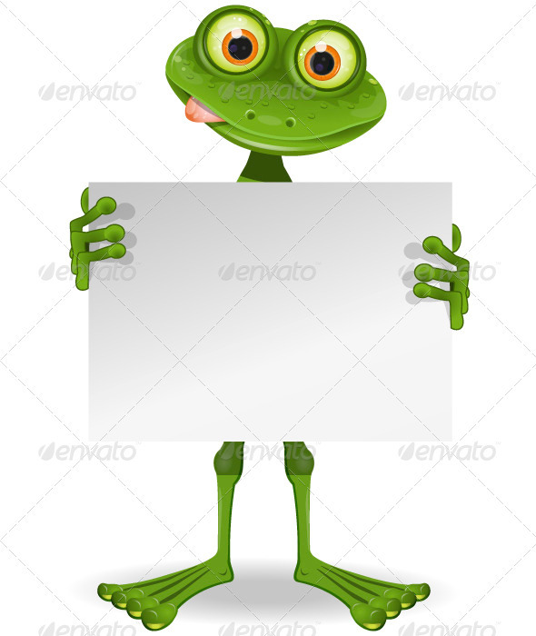 GraphicRiver Frog with a White Paper 3770306