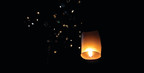 Paper Lantern With Fireworks