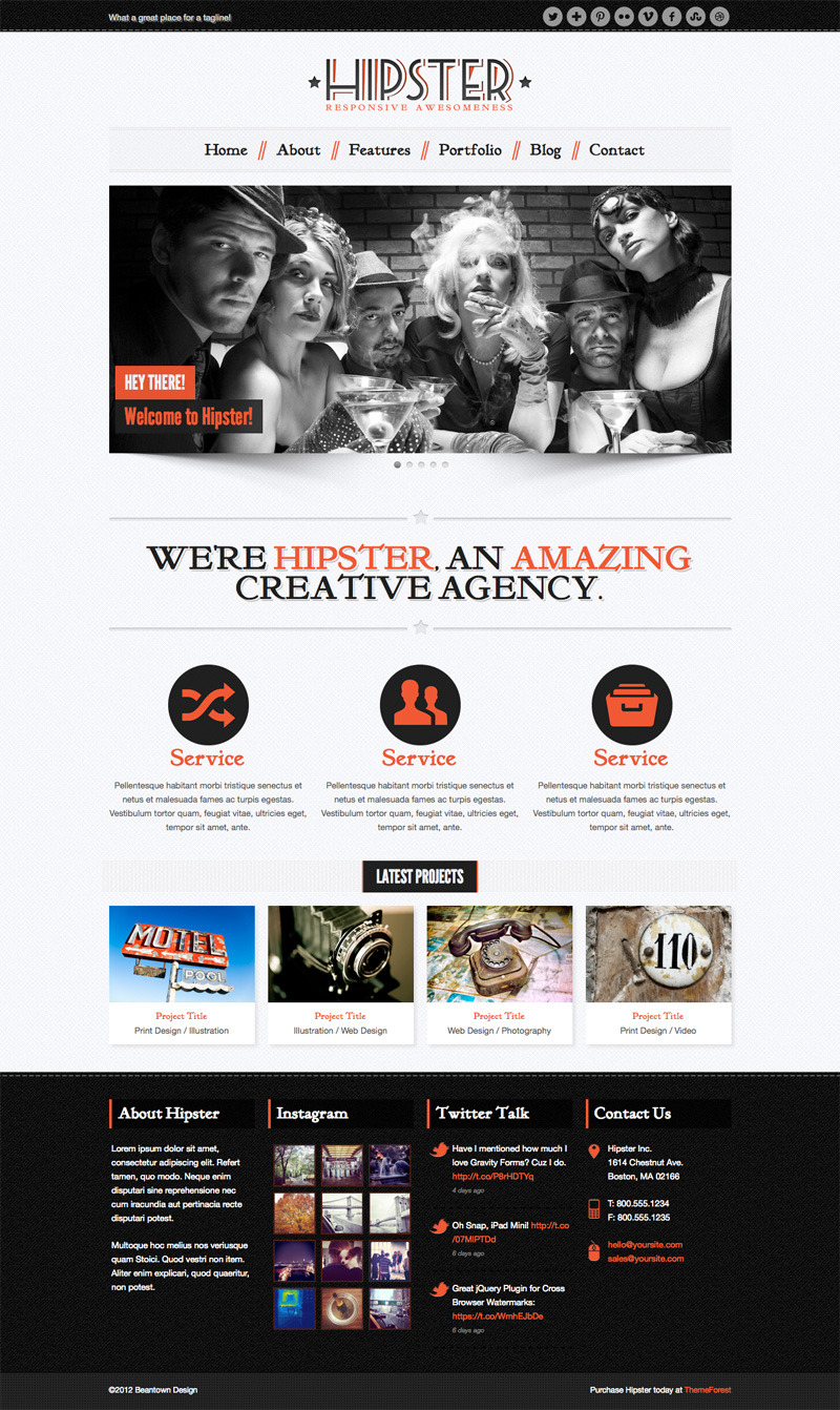 Hipster: Retro Responsive HTML5 Template -