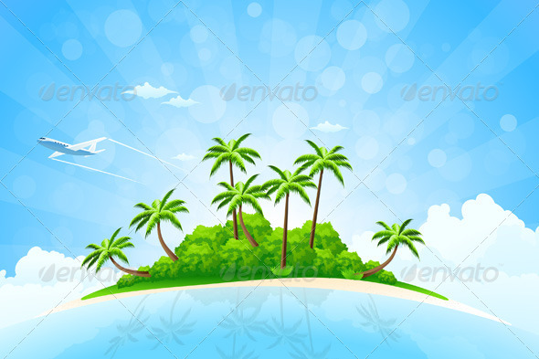 GraphicRiver Tropical Island Background 3889419