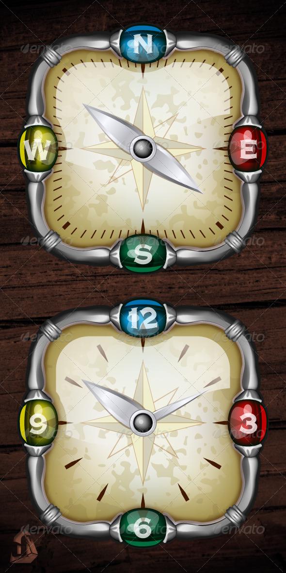 GraphicRiver Square Compass & Watch 3889908