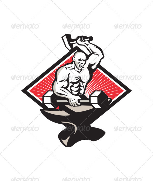 GraphicRiver Blacksmith With Hammer Striking Barbell 3891235