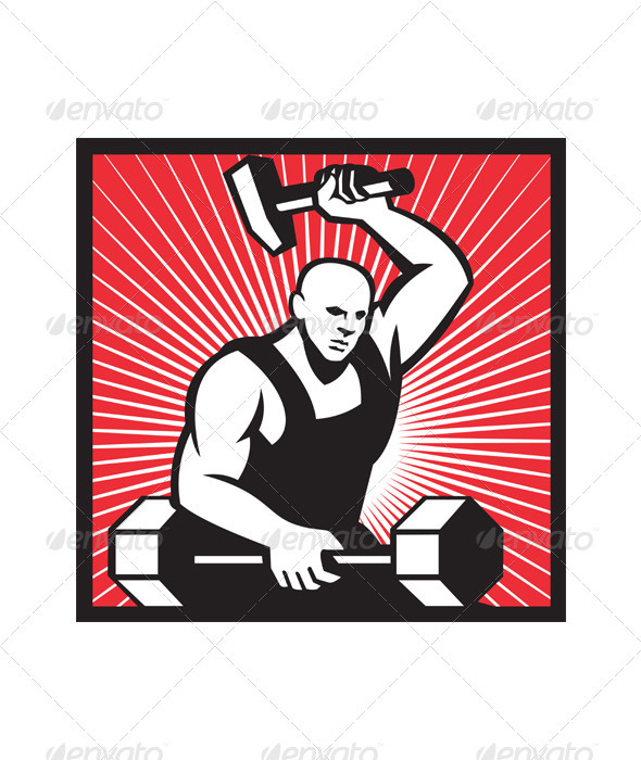 GraphicRiver Blacksmith With Hammer Striking Barbell 3891284