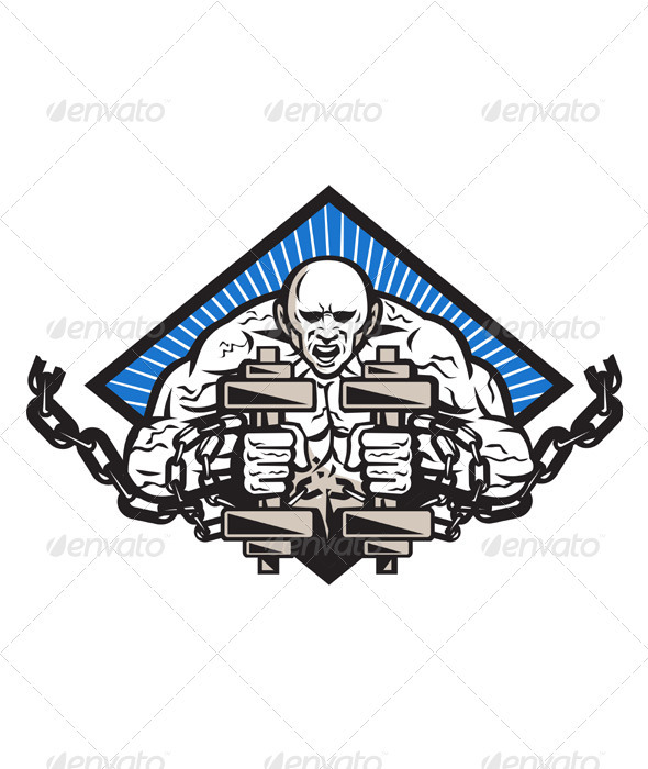 GraphicRiver Strongman With Dumbbell In Chains 3891295