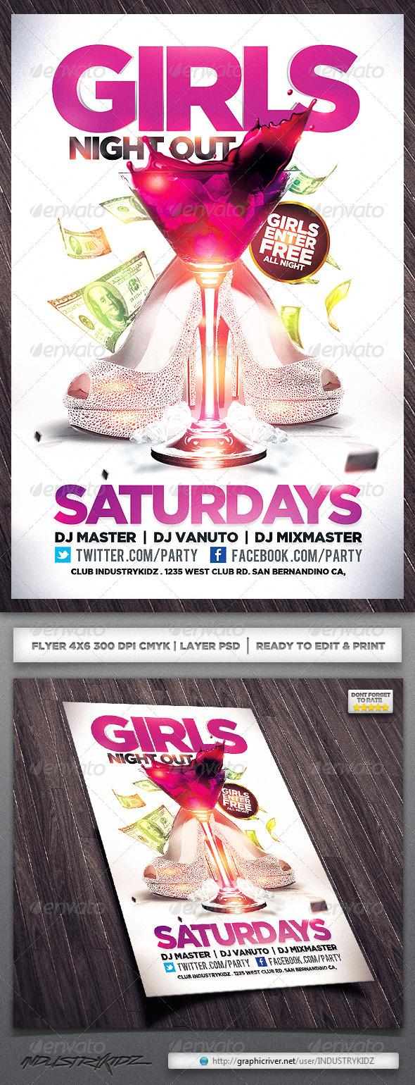GraphicRiver Girls Night Out Flyer 3891474