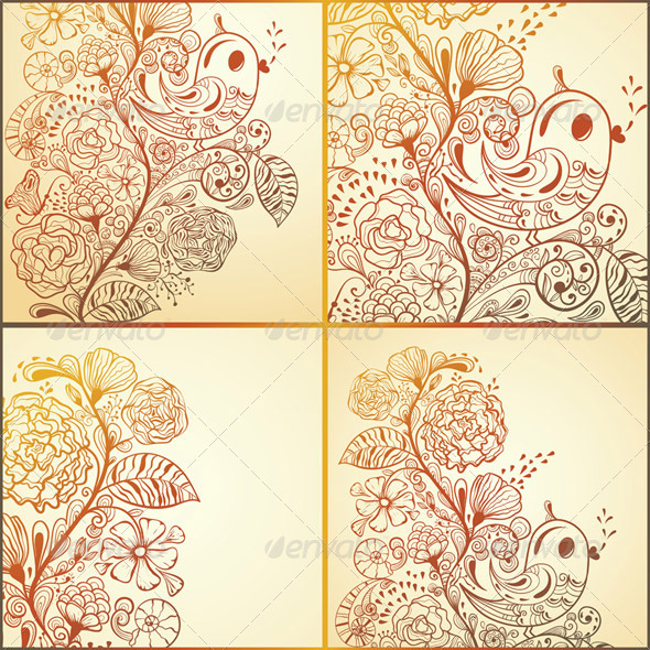 GraphicRiver 4 Vector Spring Cards 3891499