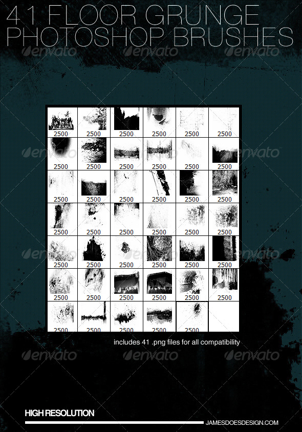 GraphicRiver 41 Floor Grunge Brushes 3891507