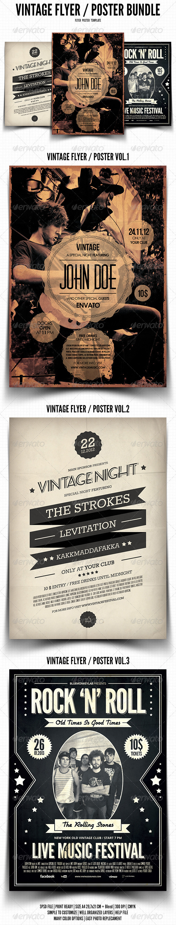 Vintage Flyer / Poster Bundle - Events Flyers