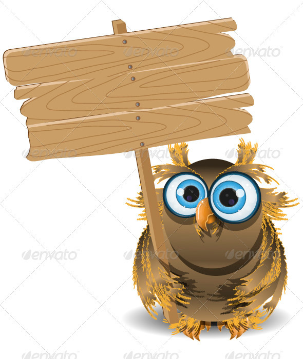 GraphicRiver owl and a wooden plaque 3892145