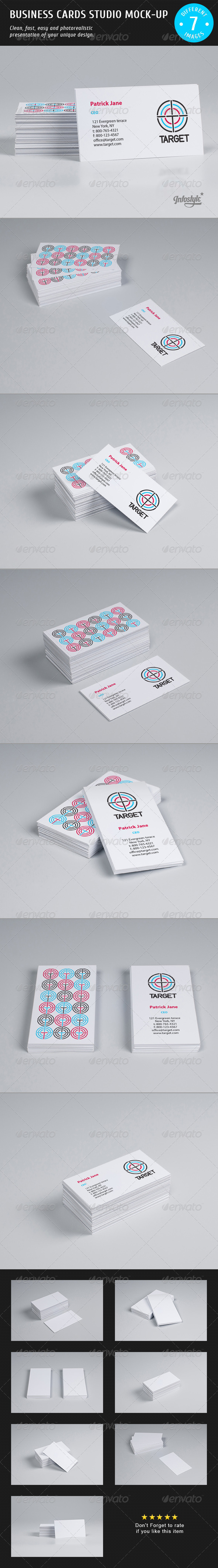 GraphicRiver Business Cards Studio Mock-up 3892218