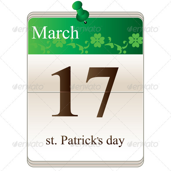 GraphicRiver St Patricks Day Calendar 3892370
