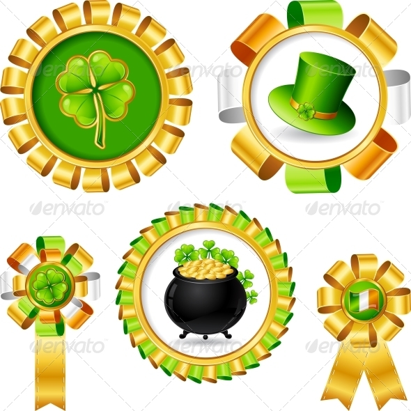 Award ribbons with Saint Patrick s day objects