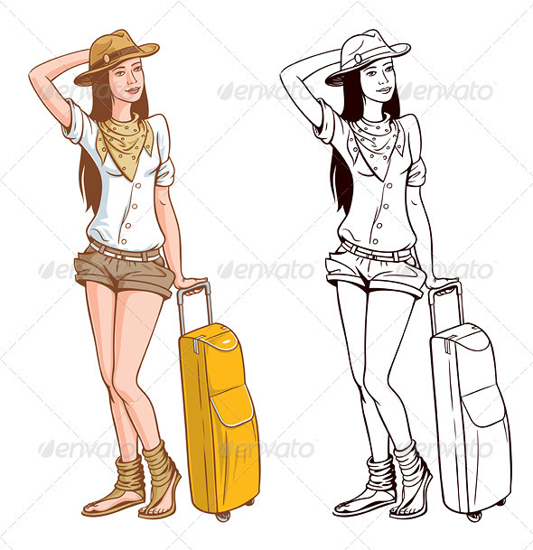 GraphicRiver Tourist Woman With A Bag 3893398