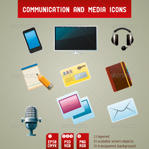 GraphicRiver Communication and Media Icons 3894360