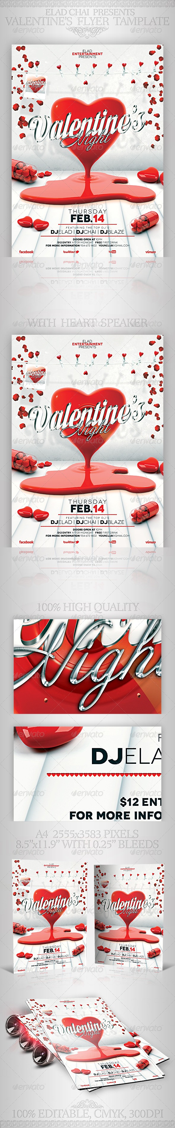 GraphicRiver Valentine s Day A4 Flyer Poster Template 3816573
