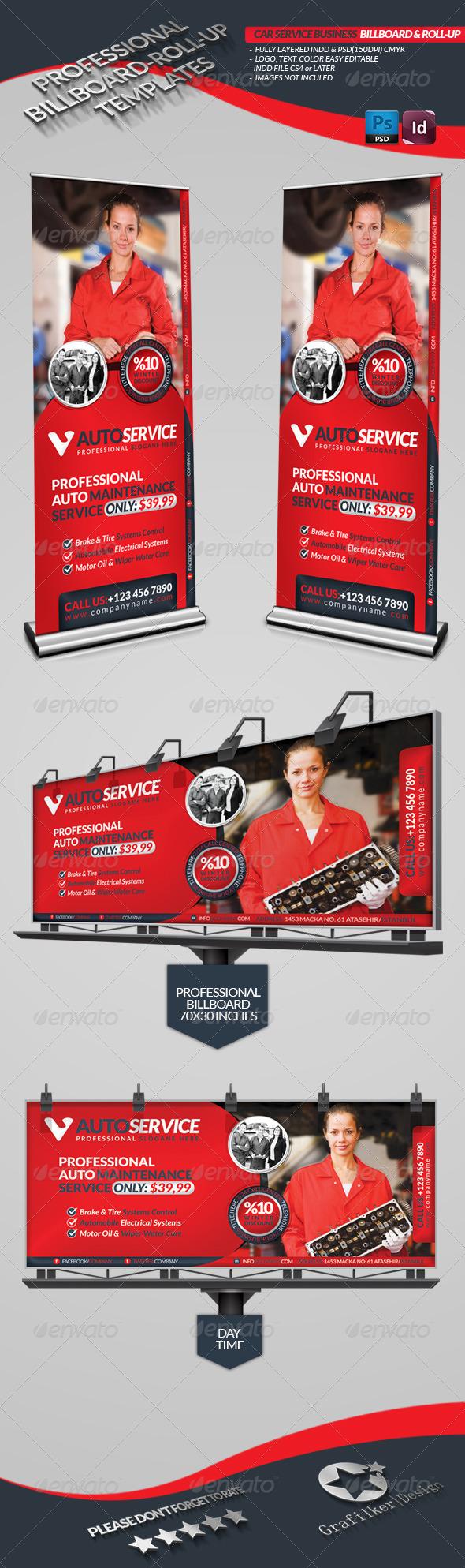 GraphicRiver Automobile Service Billboard & Roll-Up 3823036