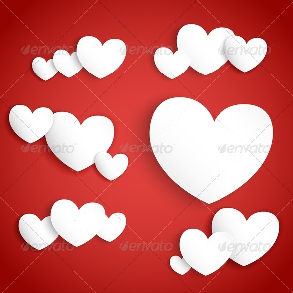 GraphicRiver White Paper Hearts on Red Background 3894392