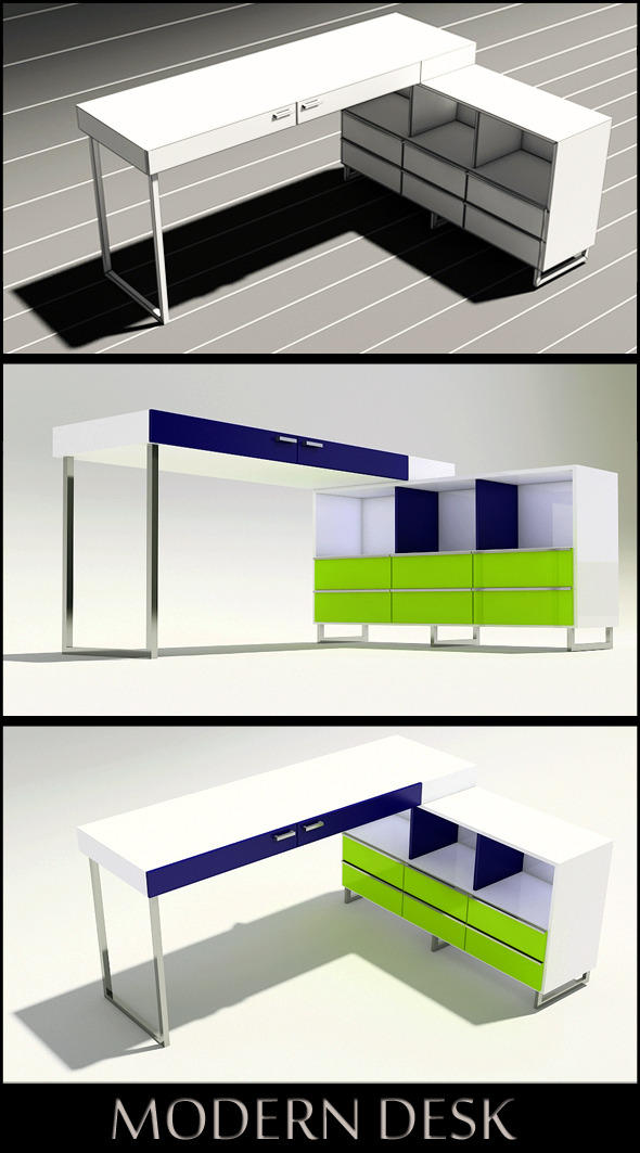 3D Modern Desk - 3DOcean Item for Sale