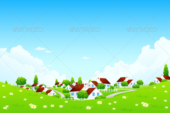 GraphicRiver Green Landscape with Village 3894407