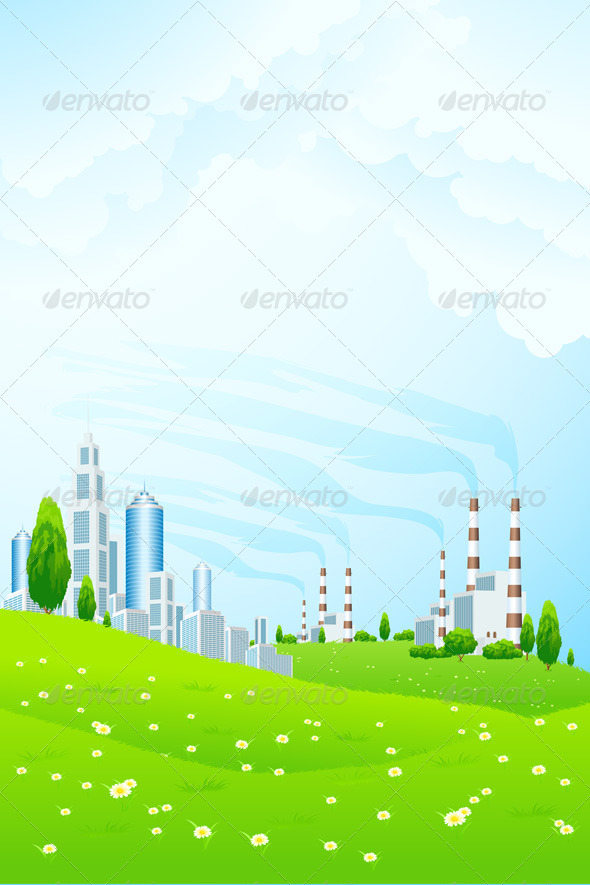 GraphicRiver Green Landscape with City and Power Plant 3894442