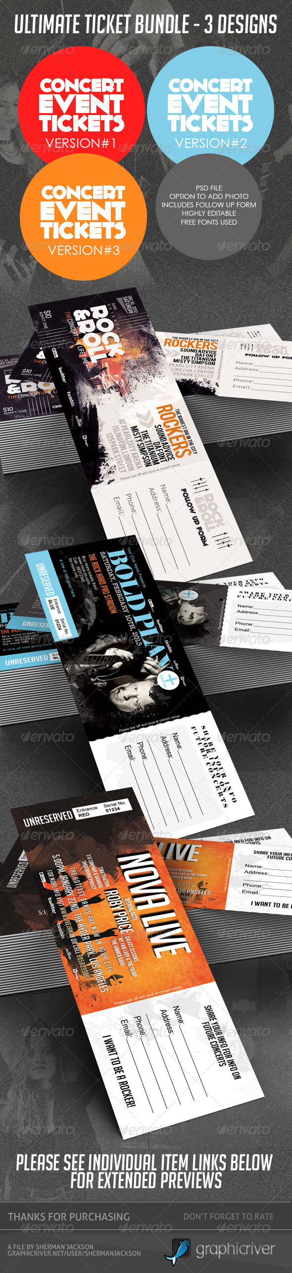 GraphicRiver Concert & Event Tickets Passes BUNDLE 3in1 3894707