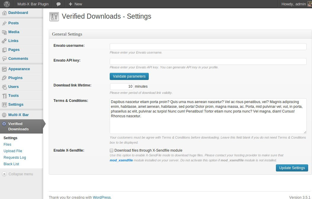 Verified Downloads - Plugin Settings.