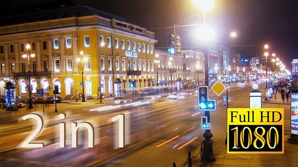 Set of 2 Saint Petersburg Night Time Lapse