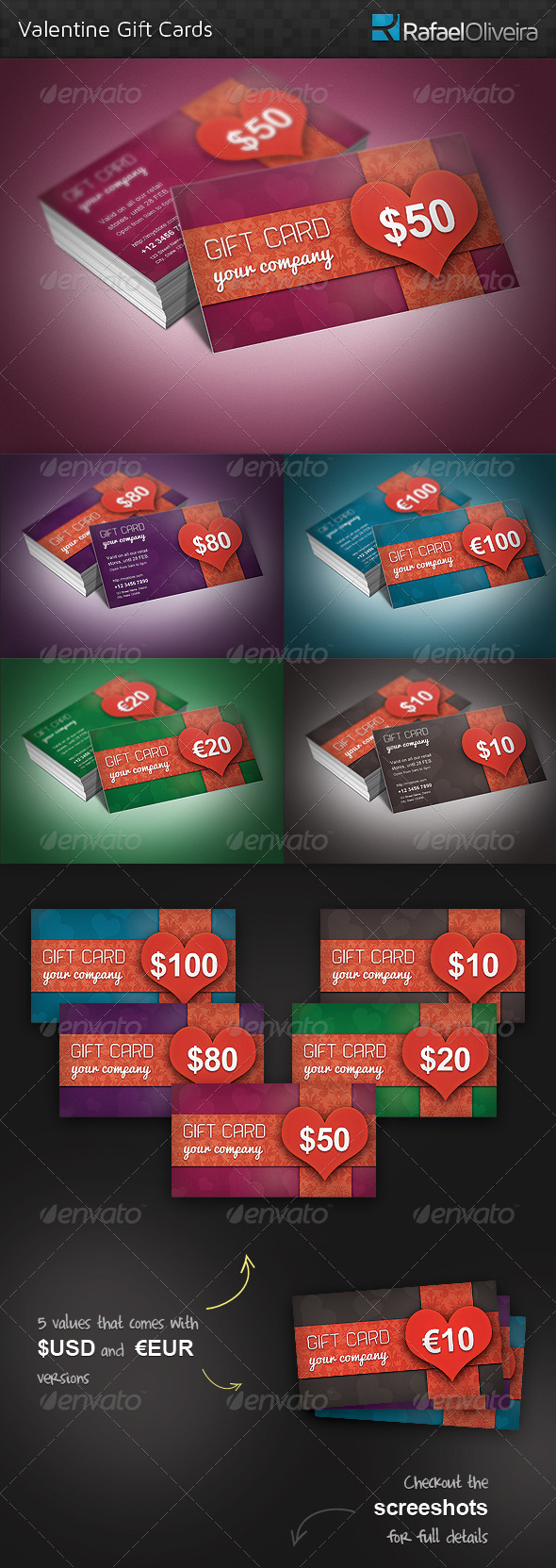 GraphicRiver Valentine Gift Cards 3895514