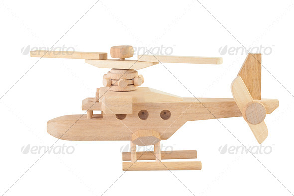PhotoDune Helicopter wood toy isolated on white background 3895644