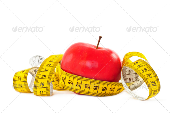 PhotoDune Red apple and measure tape 3895642