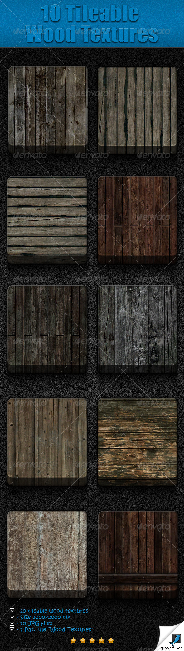 GraphicRiver 10 Tileable Wood Textures 3896507