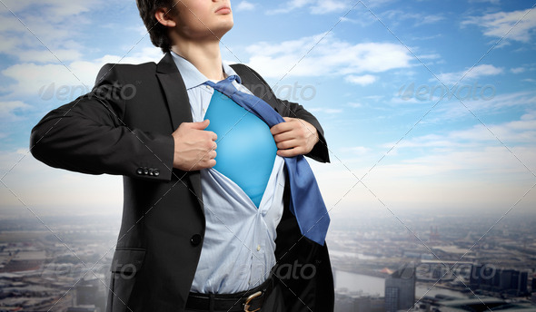 Young superhero businessman - Stock Photo - Images