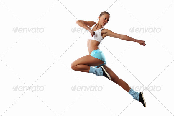 Image of sport woman jumping - Stock Photo - Images