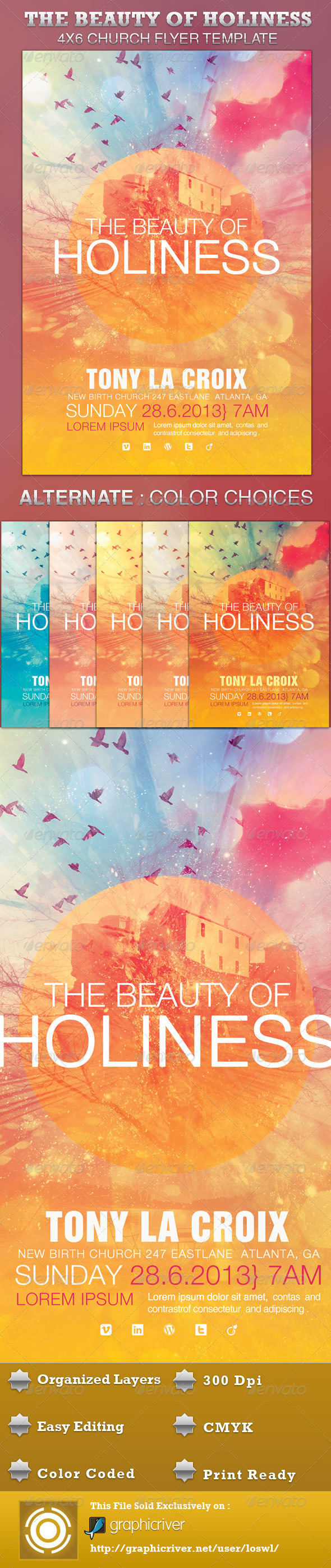 The Beauty of Holiness Church Flyer Template - Church Flyers